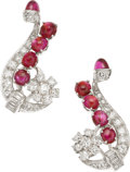Estate Jewelry:Earrings, Art Deco Ruby, Diamond, Platinum Earrings. ...