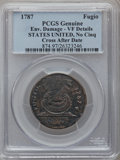 Colonials, 1787 1C Fugio Cent, STATES UNITED, No Cinquefoils -- EnvironmentalDamage -- Cross After Date PCGS Genuine. VF Details. N. 1-...