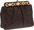Luxury Accessories:Bags, Judith Leiber Chocolate Ostrich Clutch with Multicolor CabochonClosure. ...