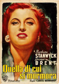 "Movie Posters:Drama, My Reputation (Warner Brothers, 1946). Italian Foglio (27"" X 39"").. ..."