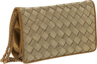 Bottega Veneta Gold Intrecciato Satin and Metallic Fabric Evening Bag