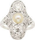 Estate Jewelry:Rings, Edwardian Diamond, Cultured Pearl, Platinum Ring. ...