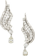 Estate Jewelry:Earrings, Diamond, White Gold Earrings, circa 1950. ...