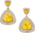 Estate Jewelry:Earrings, Amber, Diamond, Gold Earrings, Eli Frei. ...