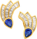 Estate Jewelry:Earrings, Sapphire, Diamond, Gold Earrings. ...