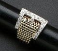 Estate Jewelry:Rings, Gold Mesh & Diamond Gold Ring. ...
