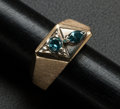 Estate Jewelry:Rings, Gent's Blue Diamond & Gold Ring. ...