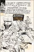 Original Comic Art:Covers, Dick Ayers and John Tartaglione Sgt. Fury and His HowlingCommandos #34 Cover Original Art (Marvel, 1966)....