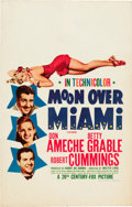 """Movie Posters:Musical, Moon Over Miami (20th Century Fox, 1941). Window Card (14"""" X 22"""").. ..."""