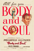"Movie Posters:Film Noir, Body and Soul (United Artists, 1947). One Sheet (27"" X 41"").. ..."