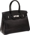 Luxury Accessories:Bags, Hermes 30cm Black Matte Nilo Crocodile Birkin Bag with PalladiumHardware. ...