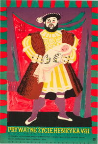 """The Private Life of Henry VIII (CWF, R-1955). Polish One Sheet (24"""" X 35"""")"""