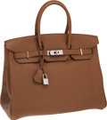 Luxury Accessories:Bags, Hermes 35cm Alezan Togo Leather Birkin Bag with Palladium Hardware....