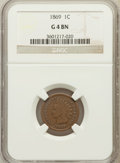 Indian Cents, 1869 1C Good 4 Brown NGC. NGC Census: (34/607). PCGS Population(53/795). Mintage: 6,420,000. Numismedia Wsl. Price for pro...