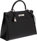 Luxury Accessories:Bags, Hermes 35cm Black Calf Box Leather Sellier Kelly Bag with PalladiumHardware. ...