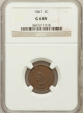 Indian Cents, 1867 1C Good 6 Brown NGC. NGC Census: (8/441). PCGS Population(8/467). Mintage: 9,821,000. Numismedia Wsl. Price for probl...