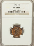 Indian Cents: , 1892 1C MS63 Red and Brown NGC. NGC Census: (120/468). PCGSPopulation (111/192). Mintage: 37,649,832. Numismedia Wsl. Pric...