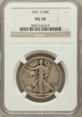 Walking Liberty Half Dollars: , 1921-S 50C VG10 NGC. NGC Census: (89/512). PCGS Population(256/792). Mintage: 548,000. Numismedia Wsl. Price for problem f...