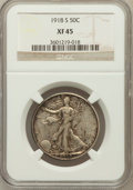 Walking Liberty Half Dollars: , 1918-S 50C XF45 NGC. NGC Census: (13/714). PCGS Population(40/971). Mintage: 10,282,000. Numismedia Wsl. Price for problem...