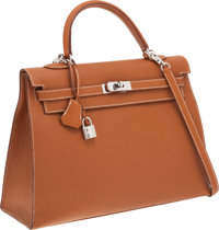 Hermes 35cm Gold Fjord Leather Sellier Kelly Bag with Palladium Hardware