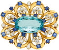 Estate Jewelry:Brooches - Pins, Aquamarine, Diamond, Sapphire, Gold Brooch. ...
