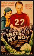 "Movie Posters:Sports, That's My Boy (Columbia, 1932). Trimmed Midget Window Card (6.75"" X 11.25""). Sports.. ..."
