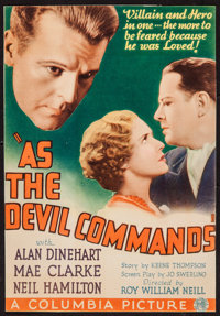 """As the Devil Commands (Columbia, 1933). Trimmed Midget Window Card (7.5"""" X 10.75""""). Mystery"""
