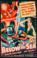 "Movie Posters:Adventure, Below the Sea (Columbia, 1933). Trimmed Midget Window Card (7.25"" X11.25""). Adventure.. ..."