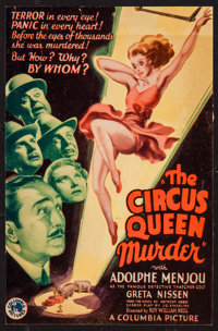 "The Circus Queen Murder (Columbia, 1933). Trimmed Midget Window Card (7.5"" X 11.25""). Mystery"