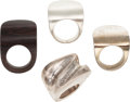 Luxury Accessories:Accessories, Set of Four; Patricia Von Musulin Wood Ring and Three Silver Rings.... (Total: 4 Items)