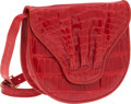 Luxury Accessories:Bags, Puruti Red Crocodile Flap Shoulder Bag. ...