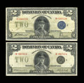 Canadian Currency: , DC-26h; 26l $2 1923.. The 26h grades Fine-VF, while the 26l gradesVery Fine.... (Total: 2 notes)