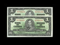 Canadian Currency: , BC-21a $1 1937. Two Consecutive Examples.. A handsome pair that iswell preserved. Choice Crisp Uncirculated.. From Th... (Total: 2notes)
