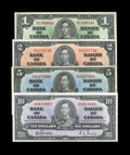 Canadian Currency: , 1937 Canadian Grouping including BC-21c $1 VF; BC-22c $2 AU; BC-23b$5 XF-AU; and BC-24b $10 Choice CU.... (Total: 4 notes)