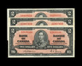 Canadian Currency: , BC-22a $2 1937. Three Examples.. One note grades VF-XF, the othertwo XF.. From The Halton Lake Collection... (Total: 3 notes)