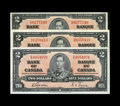 Canadian Currency: , BC-22b $2 1937. Three Examples.. A nice trio of Twos with onegrading Choice AU, the other two Choice CU.. From Th... (Total:3 notes)
