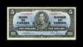 Canadian Currency: , BC-23a $5 1937.. A couple of light folds are found on this example.Extremely Fine-About Uncirculated.. From The Halto...