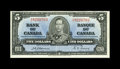 Canadian Currency: , BC-23a $5 1937.. Dark inks on this Extremely Fine $5.. From TheHalton Lake Collection...