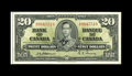 Canadian Currency: , BC-25a $20 1937.. Light circulation is found in the center of the note. Extremely Fine-About Uncirculated.. From The H...