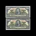 Canadian Currency: , BC-25b $20 1937. Two Examples.. A D/E and E/E note are included inthis lot. Choice Crisp Uncirculated.. From The Halt... (Total: 2notes)