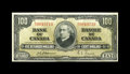 Canadian Currency: , BC-27a $100 1937.. Light handling is paired with a slender bottommargin. Extremely Fine.. From The Halton Lake Collec...