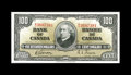 Canadian Currency: , BC-27b $100 1937.. A light center fold graces this $100. About Uncirculated.. From The Halton Lake Collection...