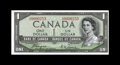 Canadian Currency: , BC-29a $1 1954. This A-A block Devil's Face note is a very rare item in this grade, and its serial number, low number 253, i...