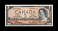 Canadian Currency: , BC-30a $2 1954. A rare note in any grade, with this Devil's Face $2A-B block example as nice as we've ever had. Choice Ab...