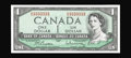 Canadian Currency: , BC-37b $1 1954 Solid Serial Number Modified Portrait. Solid serialnumber 3333333 adorns this embossed $1. Gem Crisp Uncir...