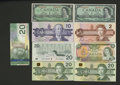 Canadian Currency: , Canadian Grouping including $1 BC-37bA-i *BM; 45bA-i *BM; $2BC-55c-i EGS; $10 BC-57a ADG; $20 BC-54bA-i engraved; 58b-ii EV...(Total: 9 notes)
