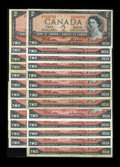 Canadian Currency: , BC-38a $2 1954 Prefix Letter Collection Twenty-five Examples..Prefix letter A/R through Z/R are found in this Two collectio...(Total: 25 notes)