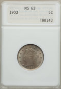 Liberty Nickels: , 1903 5C MS63 ANACS. NGC Census: (115/517). PCGS Population(184/697). Mintage: 28,006,724. Numismedia Wsl. Price for proble...