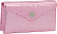 Lana Marks Pink Metallic Lizard Small Concord Clutch