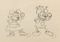 Animation Art:Production Drawing, Mickey's Mellerdrammer Mickey and Minnie Mouse ProductionDrawing Animation Art (Walt Disney, 1933)....